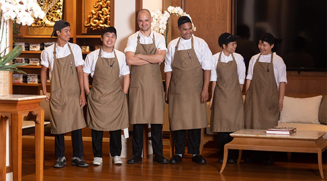 Chef Jimmy Ophorst (3rd from left) and the team at PRU.