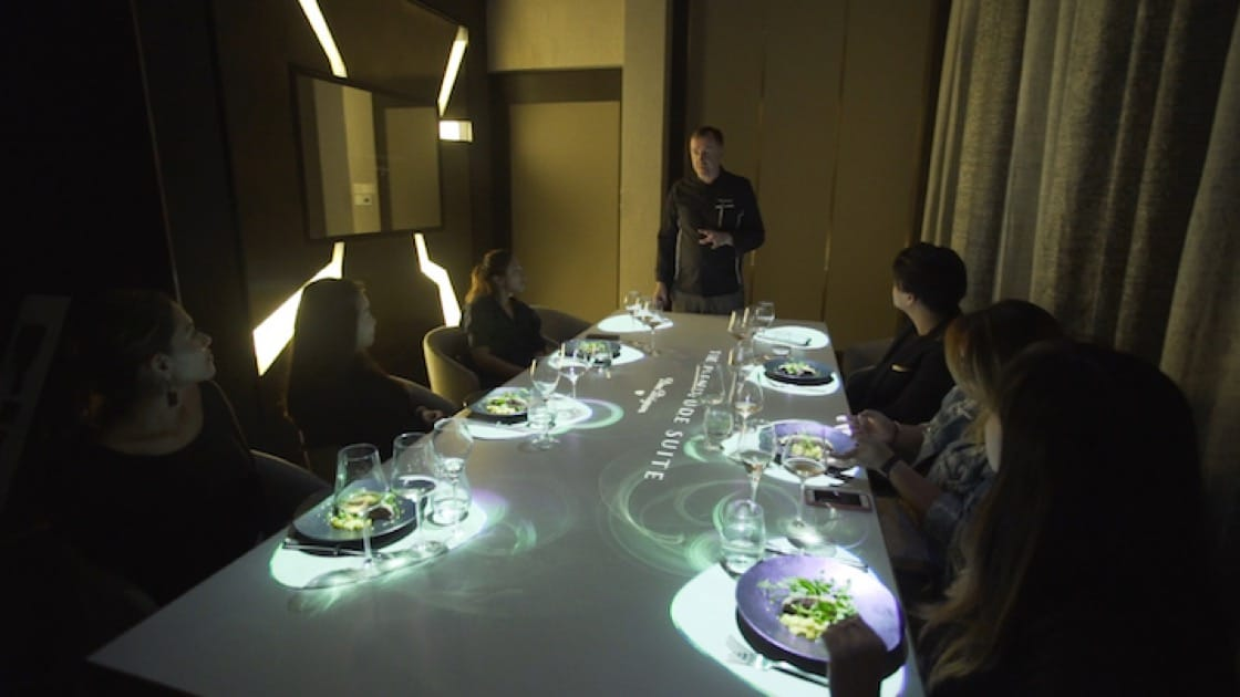 Christopher Millar, executive chef of Stellar At 1-Altitude shares his farm trip experiences with diners during a Plenitude Suite dining session.