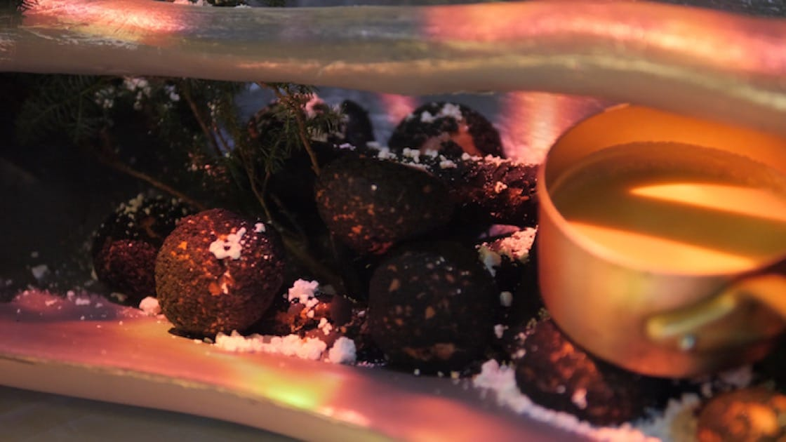 Pastry chef Jasmin Chew fires up sweet tidings with Christmas Fireplace, a charcoal-themed dessert platter.