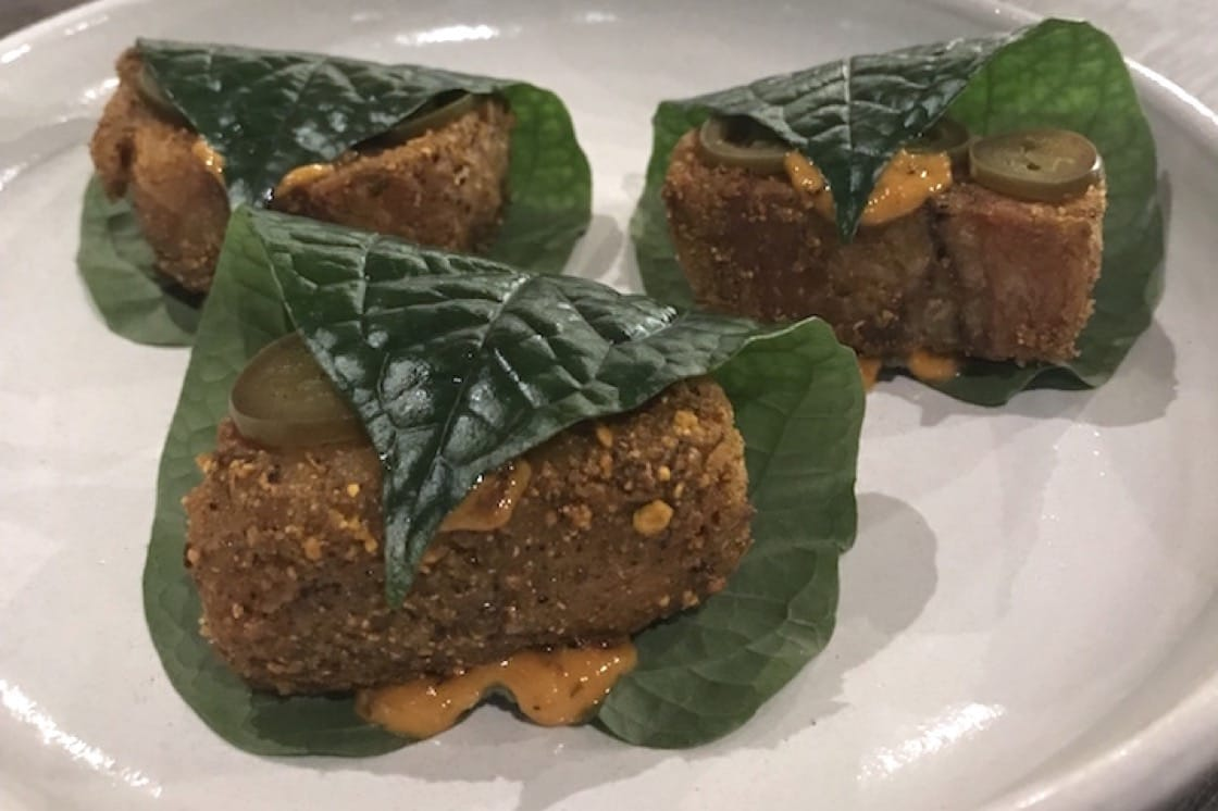 Pork cheek wrapped in betel leaf at Thevar (Pic: MICHELIN Guide Digital)