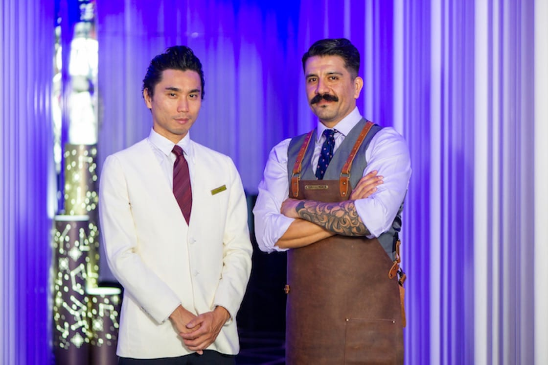 Head bartender of The Ritz-Carlton Tokyo Kentaro Wada and Oscar Mena, mixologist of The Ritz-Carlton Hong Kong.