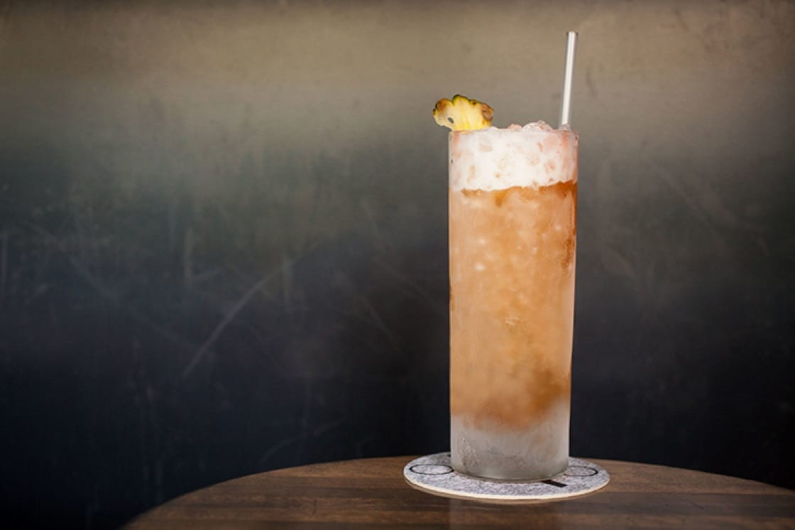 The Dunmore cobbler cocktail at ABV is a mixture of amontillado, pineapple, Scotch, lemon and bitters. (Photo courtesy of ABV.)