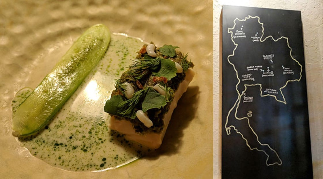 Ant eggs with fish and cucumber (left) and map of Thailand that proudly displays where all the ingredients at Canvas comes from.