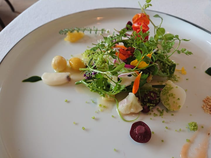 Molière的溫野菜沙拉,用了北海道與台灣共40多種蔬菜,口感多元。(謝明玲攝)