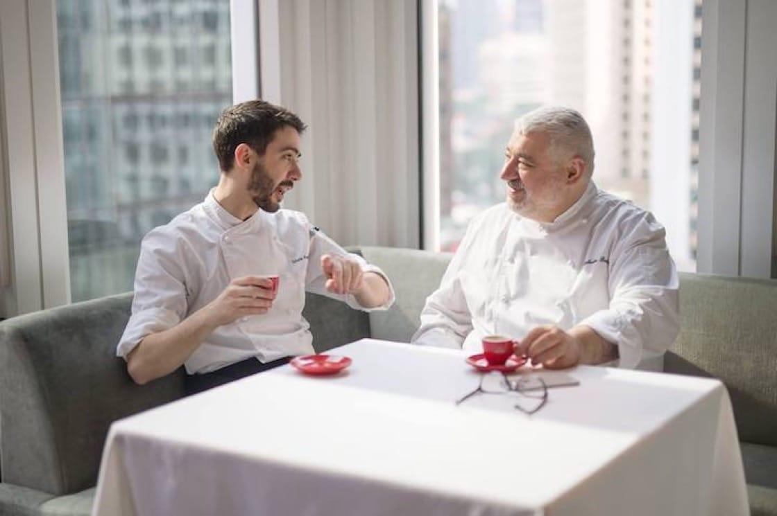 Umberto Bombana (right) and Octavium's executive chef  Silvio Armanni at Octavium. (Credit: Octavium Facebook Page)