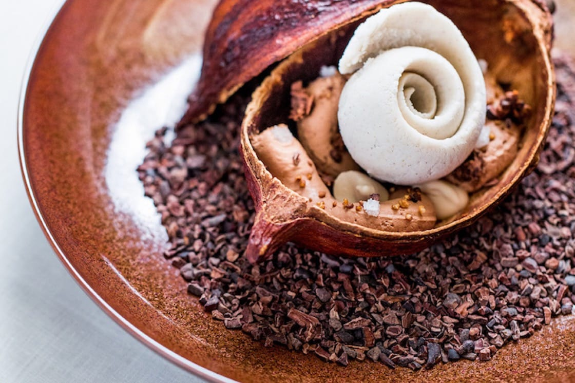 Coffee dessert with toasted buckwheat at Alain Ducasse at Morpheus, using chocolate from Alain Ducasse Manufacture in Paris