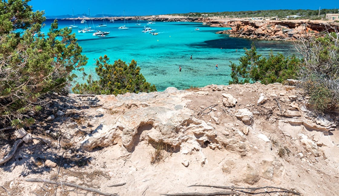Samijn often takes a small yacht to one of the many bays on Formentera Island.