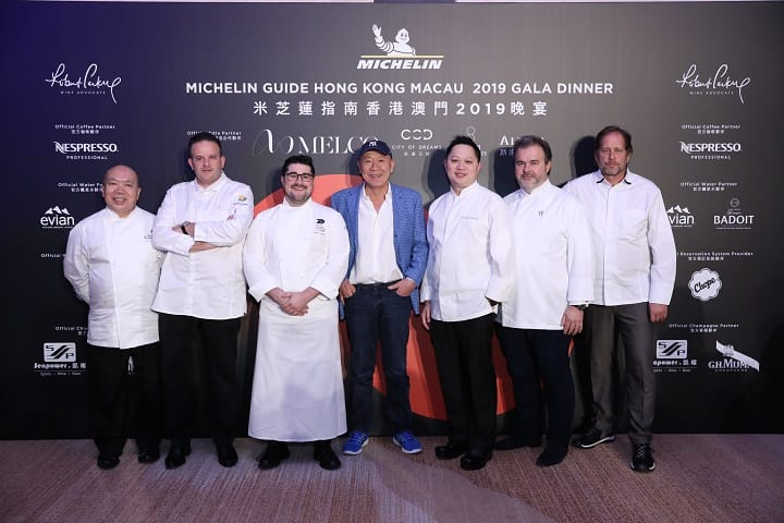 Acclaimed chefs from two- and three-Michelin-starred restaurants from around the world joined hands to create an unforgettable menu for the gala dinner. From left: Chan Yan Tak of Lung King Heen, Fabrice Vulin of The Tasting Room, Pierre Marty of Alain Ducasse at Morpheus representing  Alain Ducasse au Plaza Athénée, Masa Takayama of Masa, Kelvin Au Yeung of Jade Dragon, Pierre Herme and David Kinch of Manresa.