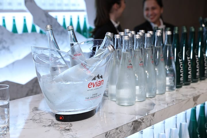 Between courses were refreshments by Badoit and evian water.