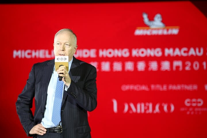 David Sisk, Property President of City of Dreams Macau, delivers a welcome speech.