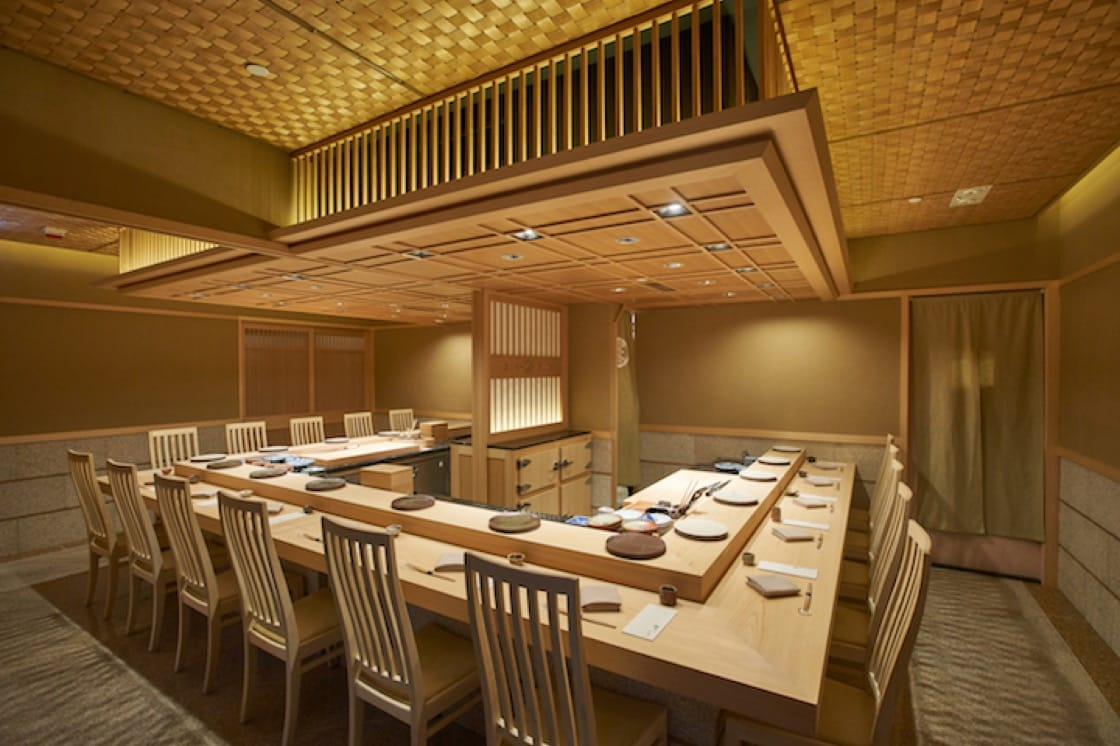 Sushi Saito is located on the 45th floor of the Four Seasons Hotel in Hong Kong.