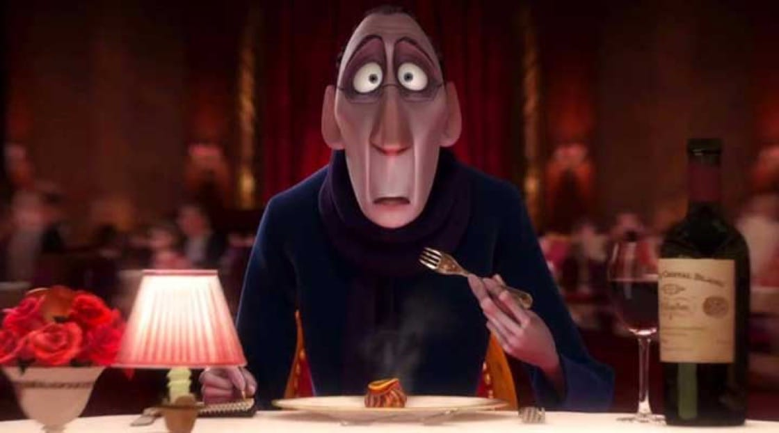 The restaurant inspector popularised in the film Ratatouille (2007). Image source: Walt Disney Studios Home Entertainment