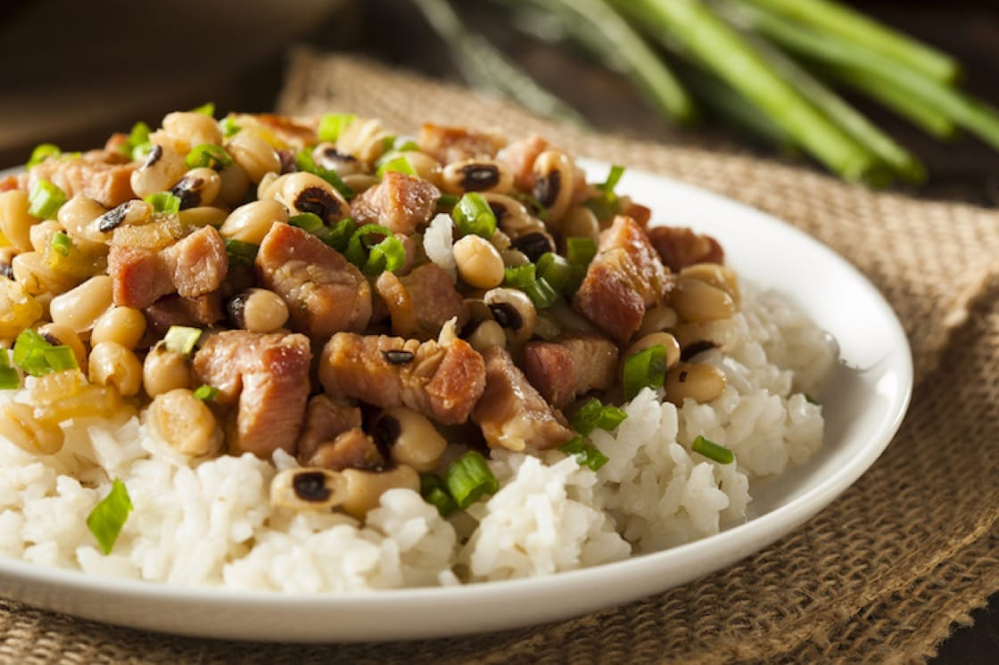 Hoppin' John is a hearty one-dish meal of black-eyed peas, pork and greens.