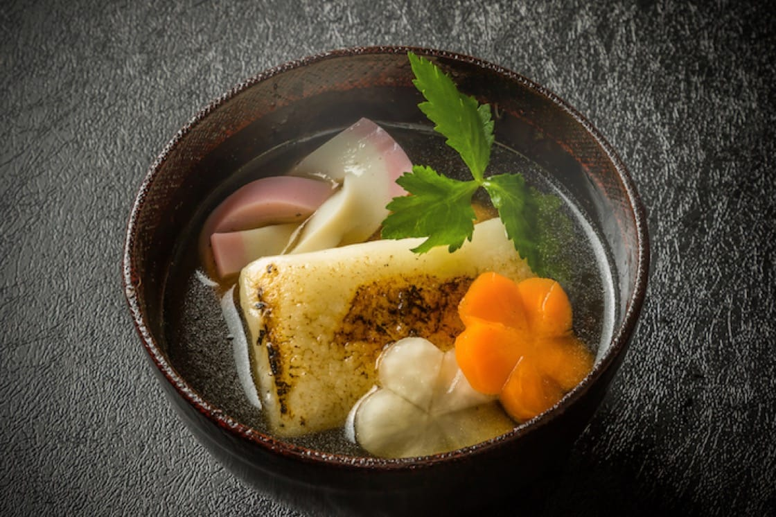Ozouni is a dashi- or miso-based soup filled with mochi, vegetables and meat.