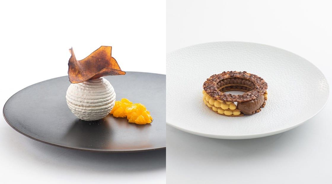 Koshihikari Ice Cream, พุดดิ้งและเมอร์แรงก์ข้าวญี่ปุ่น (ซ้าย) และ ไอศกรีมดาร์กช็อคโกแลต มาร์คริณ 80%  (ขวา)