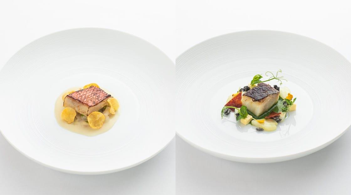 ปลาคอดหมักด้วยสาเกคาชุ (ซ้าย) และปลาคินเมะไดย่างซอสเต้าเจี้ยว (ขวา)