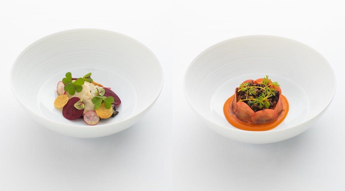 หอยนางรมเสิร์ฟคู่กับบีทรูท (ซ้าย) และ เนื้อส่วนสันคอลูกวัว ซอสคาราเมล (ขวา)