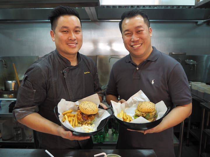 (from left) Brothers Wayne and Paul Liew runs Keng Eng Kee Restaurant and Wok In Burger. (Credit: Kenneth Goh)
