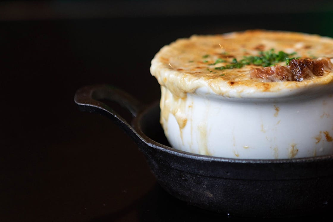 French onion soup. (Photo courtesy of Taureaux Tavern.)