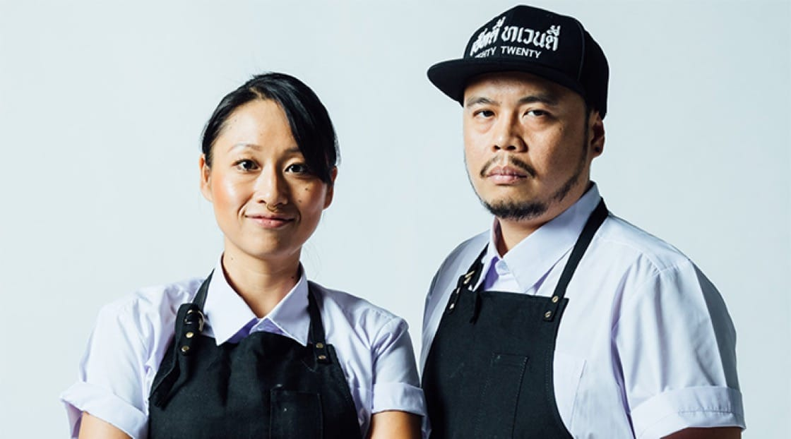 Saki Hoshino (left) and Joe Napol Jantraget (right), Chef-owners of 80/20. Photo source: 80/20bkk Facebook page.