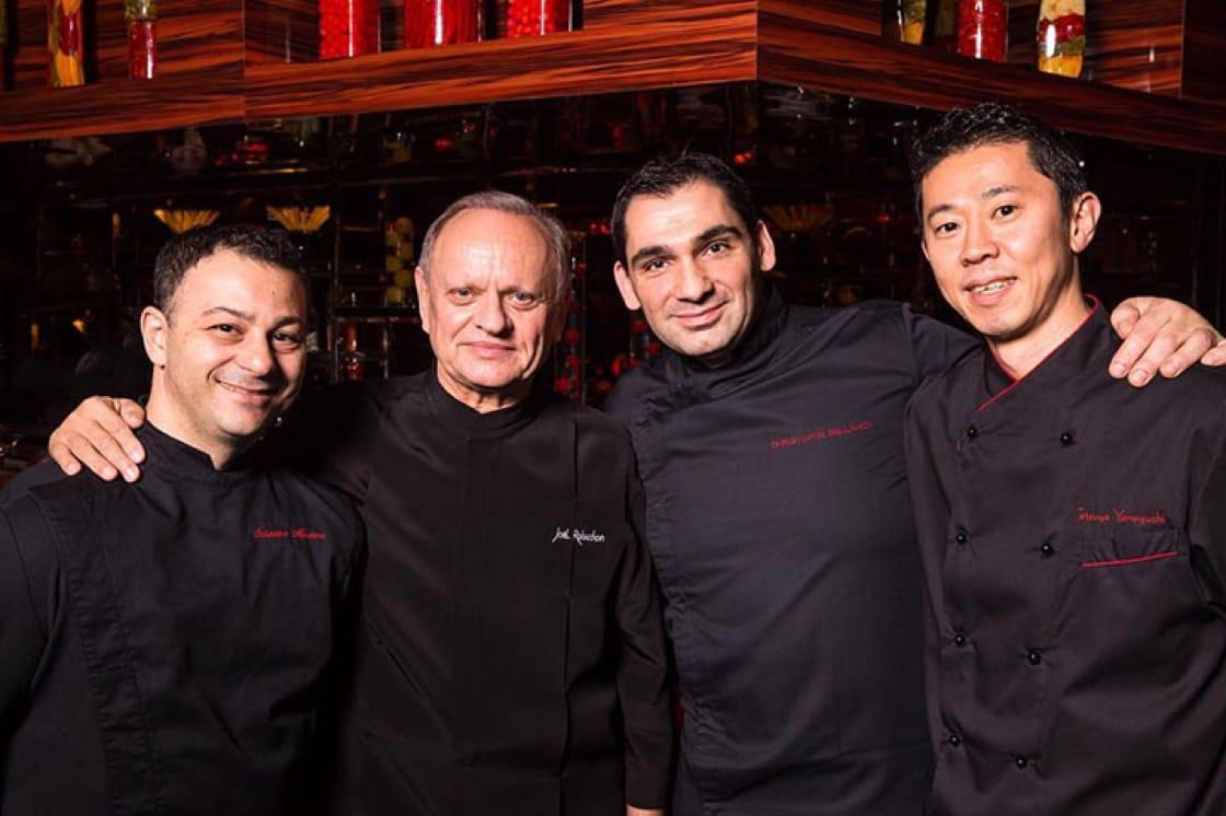 From left: Chefs Salvatore Martone, Joël Robuchon, Christophe Bellanca and Tetsuya Yamaguchi.