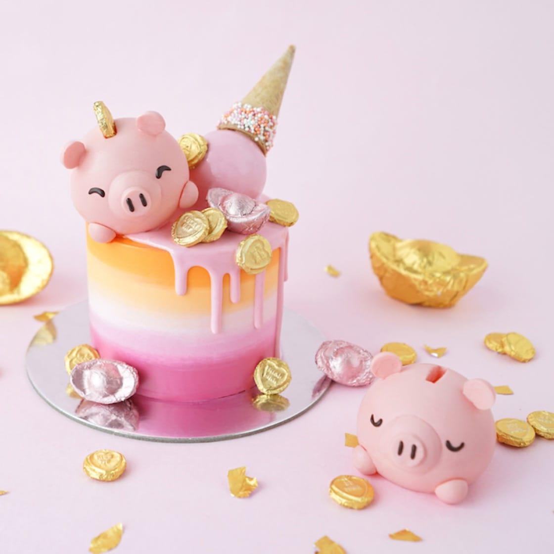 Fortune Piggy cake by Hong Kong's self-taught patissier Vivien Lau (Pic: VIVE Cake Boutique)