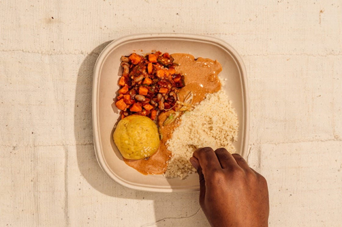 "The ""Fu-Fu"" seasonal featuring red palm and plantain fufu with peanut sauce, 'ndambe' (black-eyed pea, sweet potato and okra stew) and 'attiéké' (fermented cassava)."