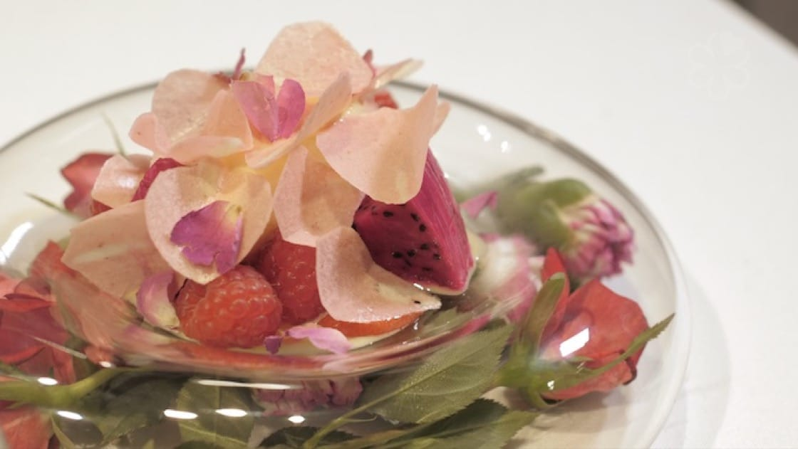 """Mille-Fleurs"" aux framboises is a floral pink and red dessert that is by Ta Vie's Hideaki Sato."