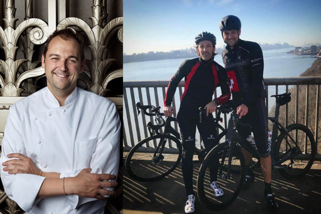 Daniel Humm of three-Michelin-starred Eleven Madison Park (Left, Pic: Marco Grob) pictured with pro-cyclist Fabian Cancellara (Right, Pic: Daniel Humm Facebook)