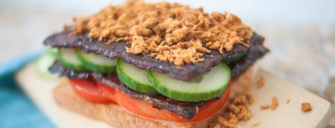 Slap on leftover bak kwa and meat floss in between sandwiches for a nifty breakfast fix. (Credit: Sunshine Bakeries)