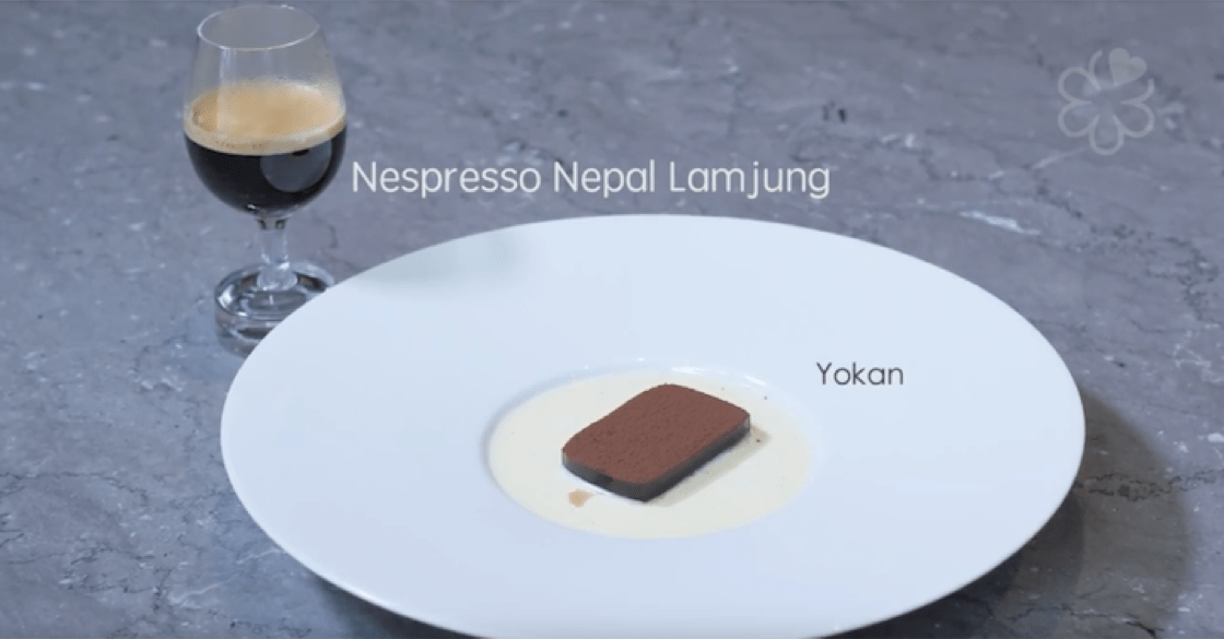Yokan, which is one of chef Tetsuya Wakuda's favourite sweets, is slathered with the Nespresso Exclusive Selection Nepal Lamjung for a bitter touch.