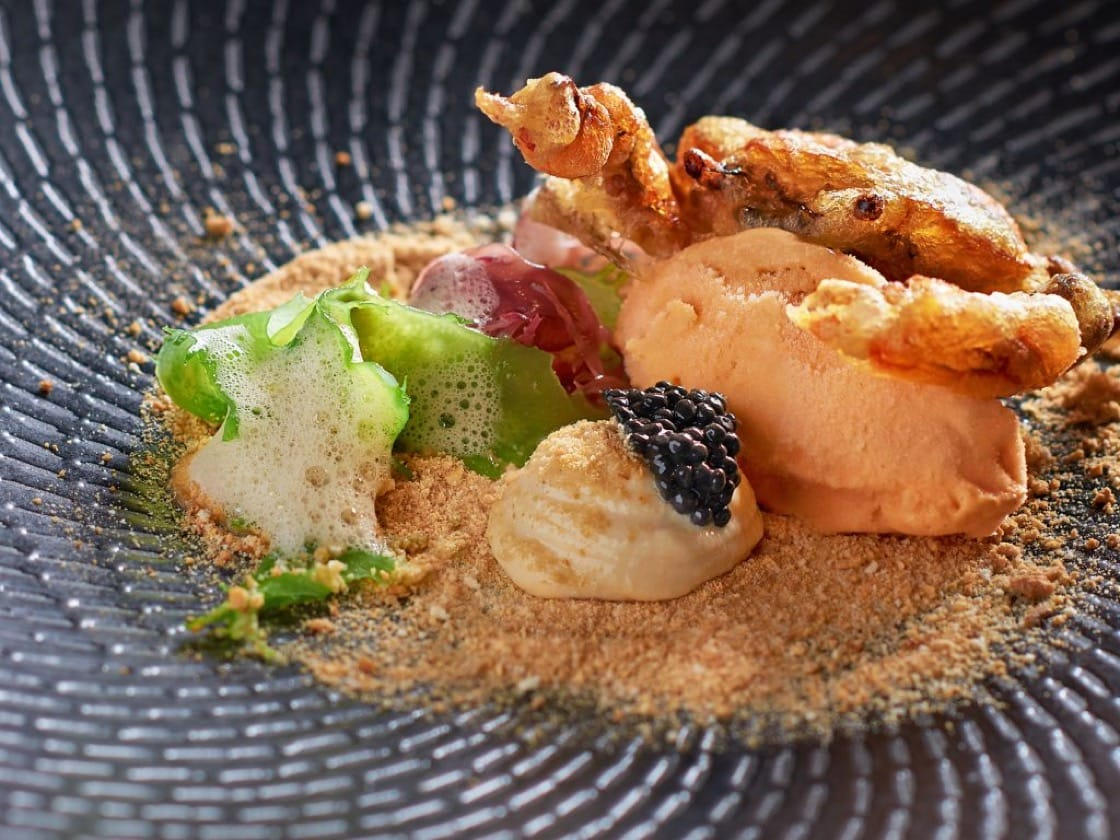 One of the first versions of the chilli crab ice cream dish (Pic: Labyrinth)