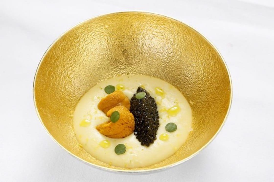 One of Chef Arnaud Dunand Sauthier's favourite dishes is Caviar Kristal et Oursin D'Hokkaido that features sea urchin and potato foam with champagne sauce. (Photo: Le Normandie Facebook page)