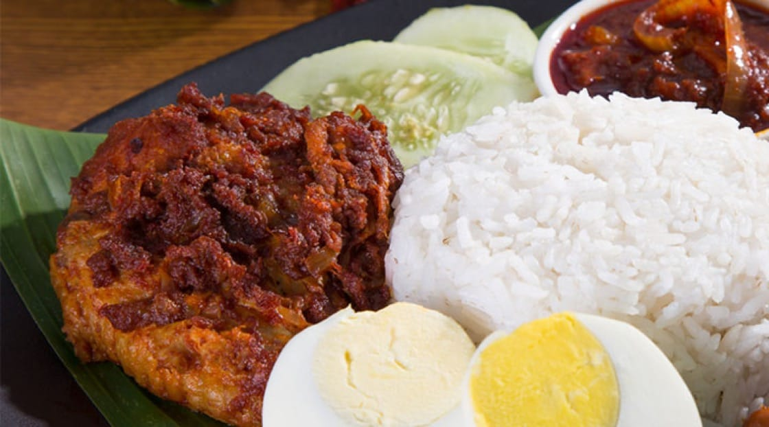 Nasi lemak means 'rich rice' in Malay.