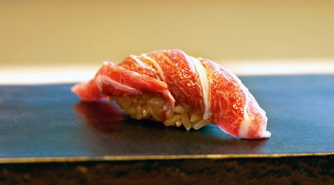 A piece of Tuna Sushi from Ginza Sushi Ichi.