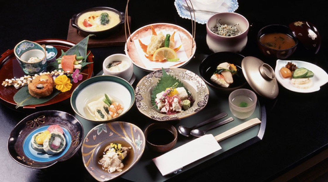 A typical Kaiseki menu in Kyoto.