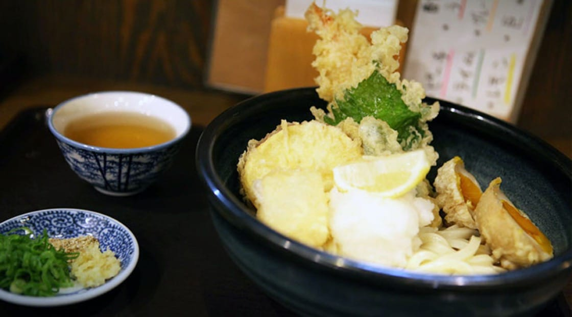 Tempura udon from an establishment in Kyoto's Gion district.