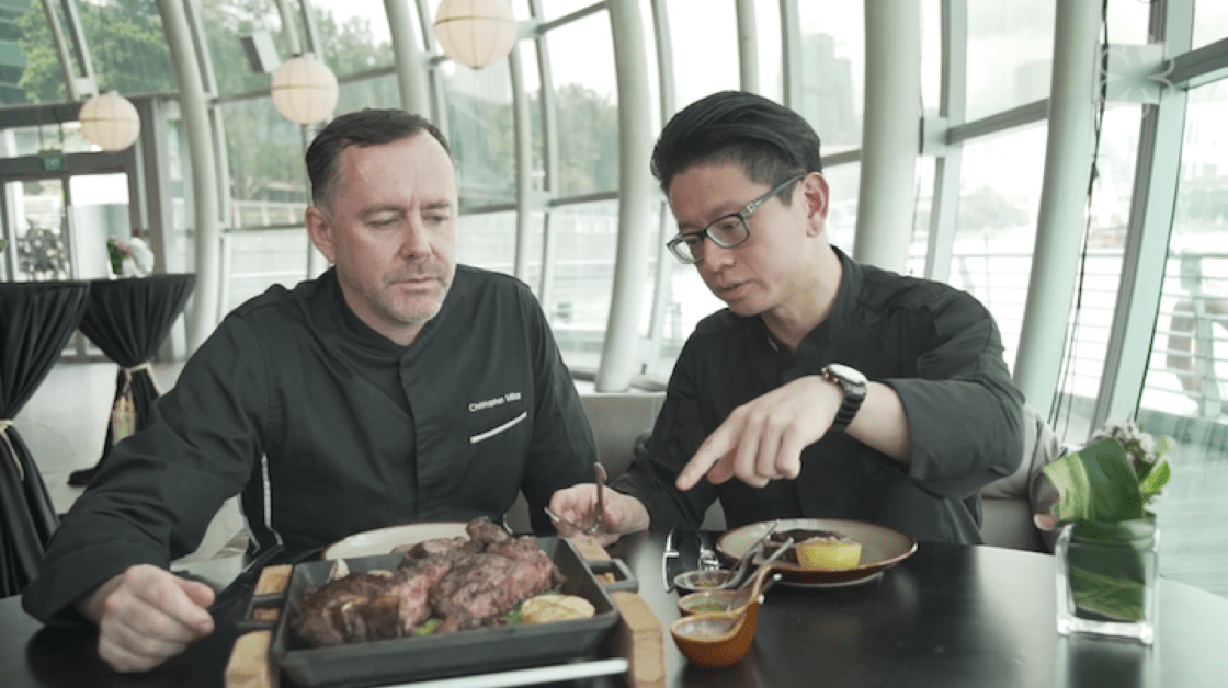 (from left) Chef Christopher Millar and Chef Felix Chong with the Mayura Fiorentina steak that is served in Monti.