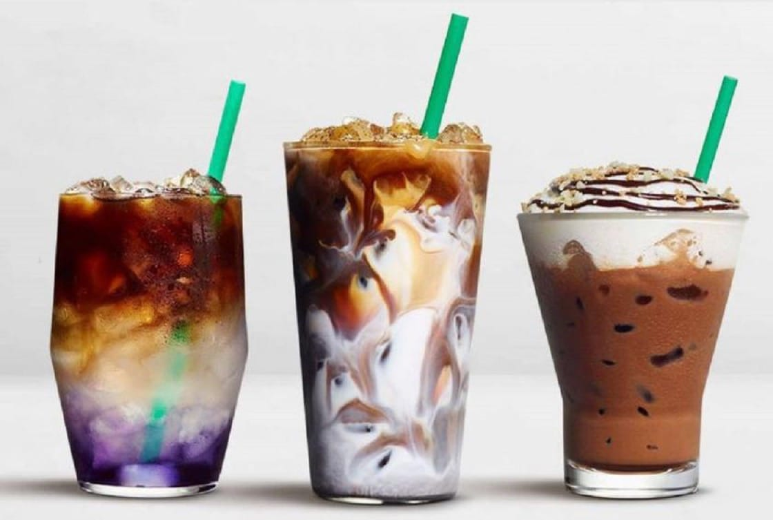 Left: Starbucks' limited edition Butterfly Pea Lemonade Cold Brew (Pic: Starbucks)