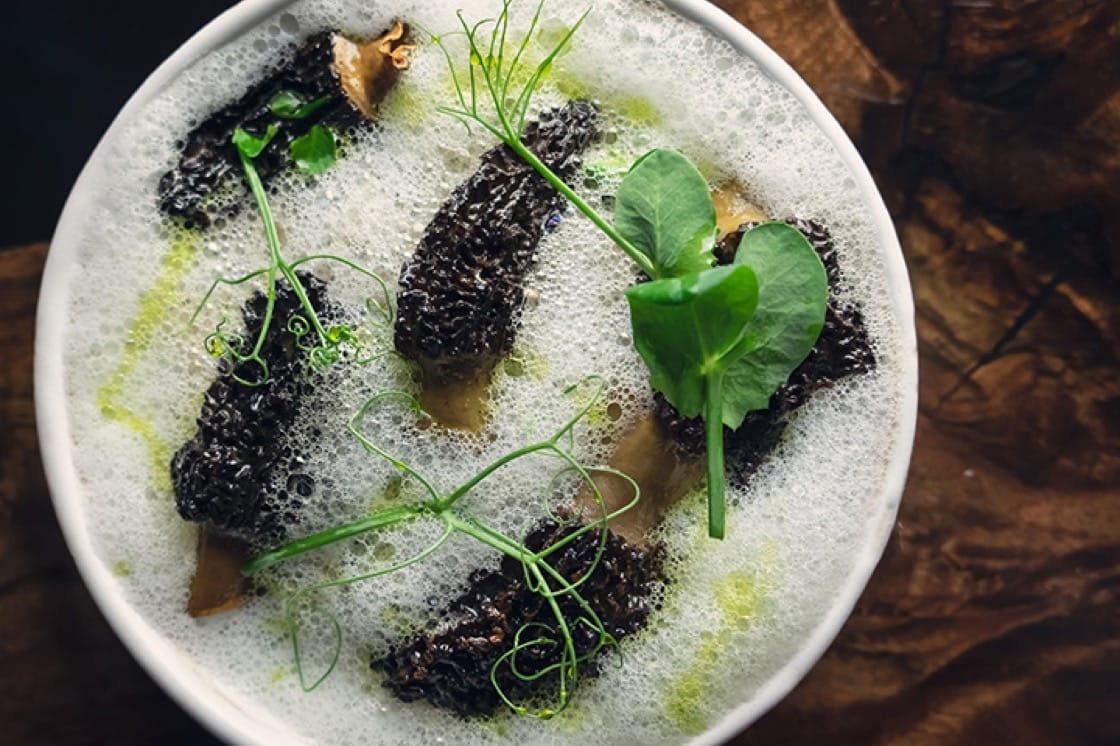 Risotto with morel mushrooms, arugula and Parmesan.