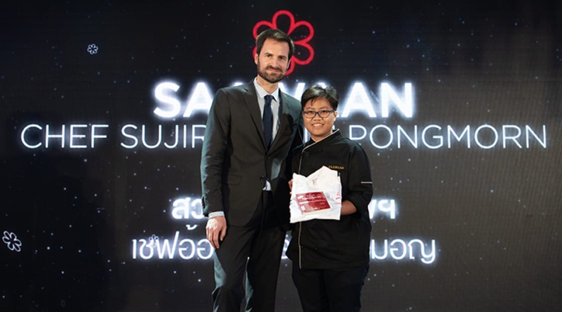 Chef Aom was all smile with Gwendal Poullennec, International Director of the MICHELIN Guide, at the MICHELIN Star Revelation 2019.