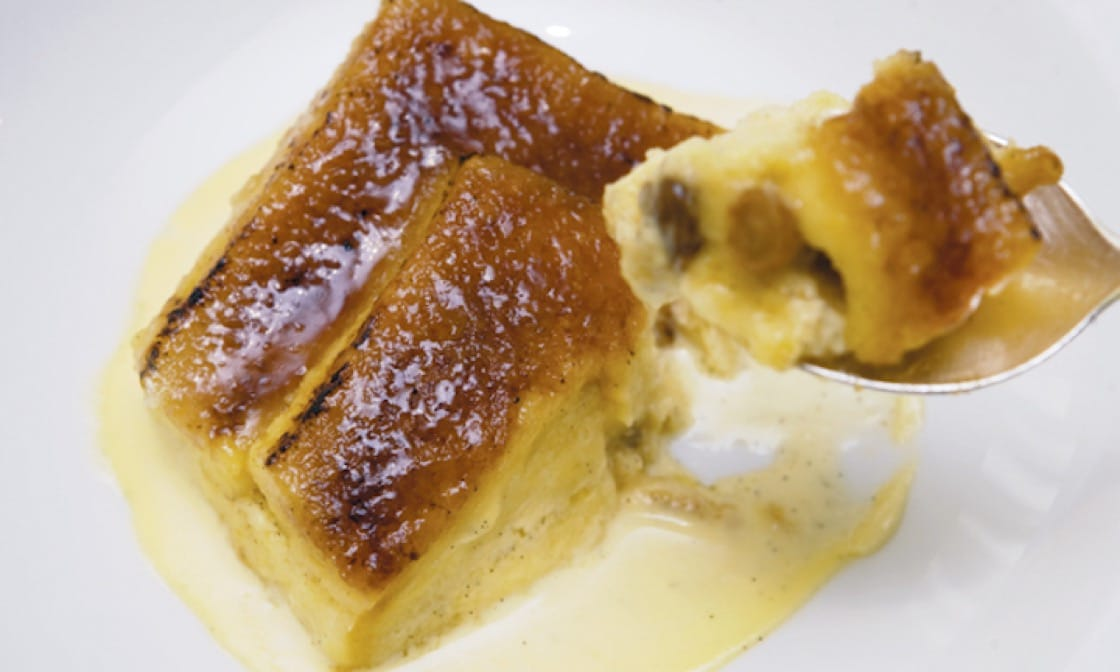 Chef Gary Rhodes is perfectly happy with his interpretation of the classic British dessert of bread and butter pudding. (Photo: TimeOut Dubai)