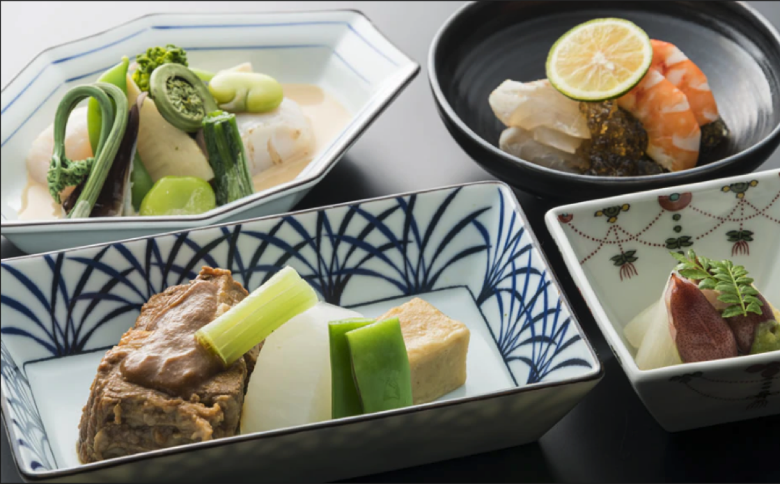 Toru Okuda's in-flight menu vividly capture the essence of the season.