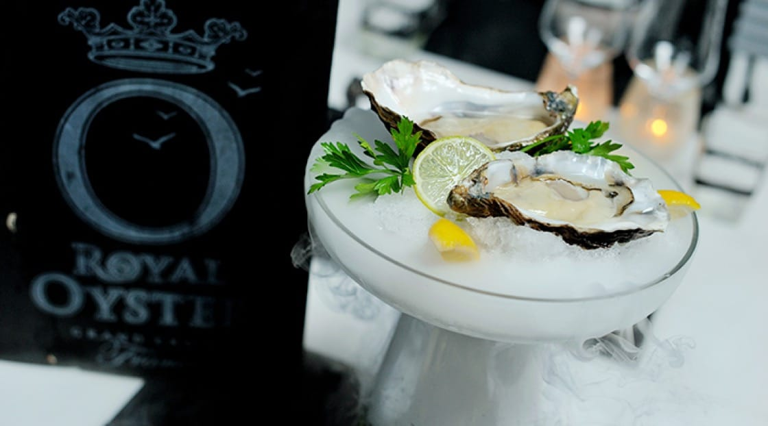 French royal oysters on flavoured ice at Acqua. Photo courtesy of Acqua.