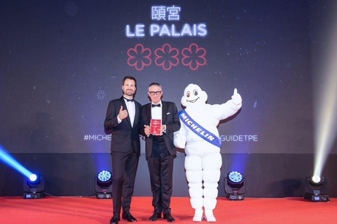 Le Palais has retained its three Michelin stars for the second year. Here, general manager of Palais De Chine, Licinio Garavaglia, poses for a photo with International Director of the MICHELIN Guides Gwendal Poullennec.