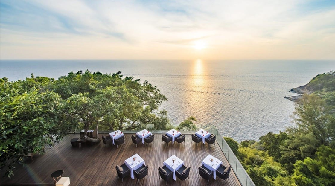 Sea views for days at Talung Thai restaurant at Paresa Resort.  Photo courtesy of Paresa Phuket.