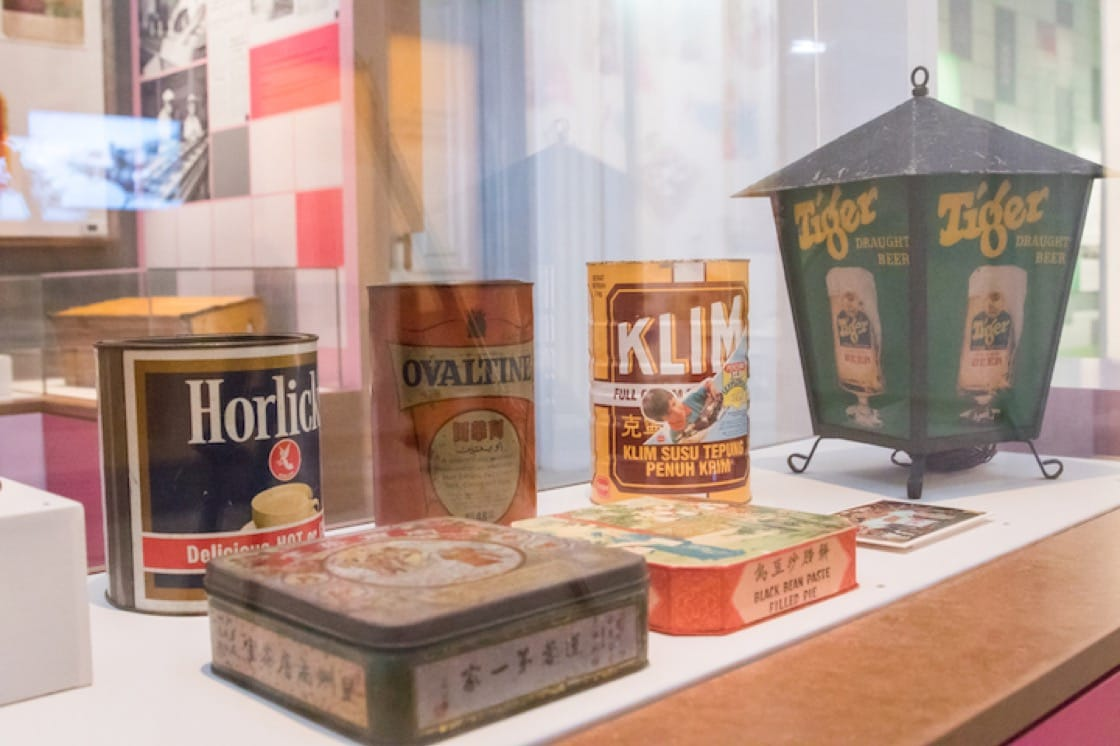 Tins for malted drinks and baby food that date back to the 1940s to 1990s. (Photo: National Museum of Singapore)