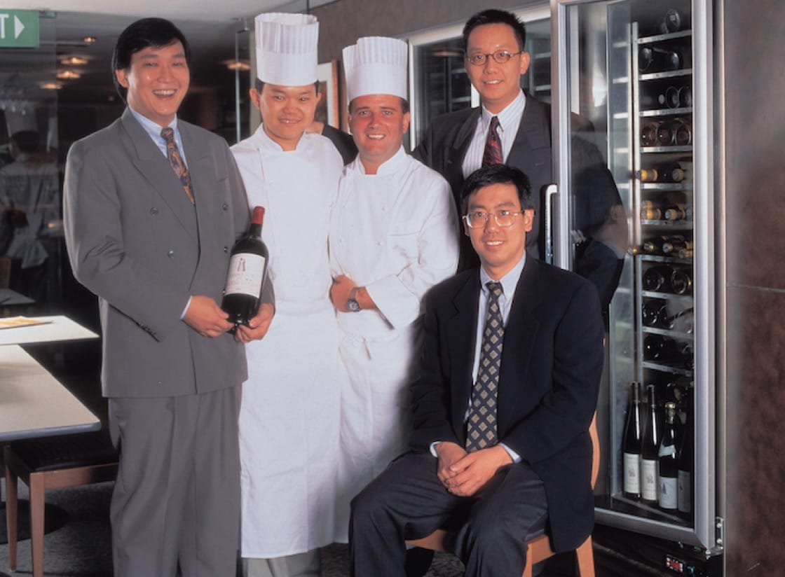 The founding team of Les Amis Restaurant including (from left) Ignatius Chan, Justin Quek, Dr Chong and Mr Lim (seated)