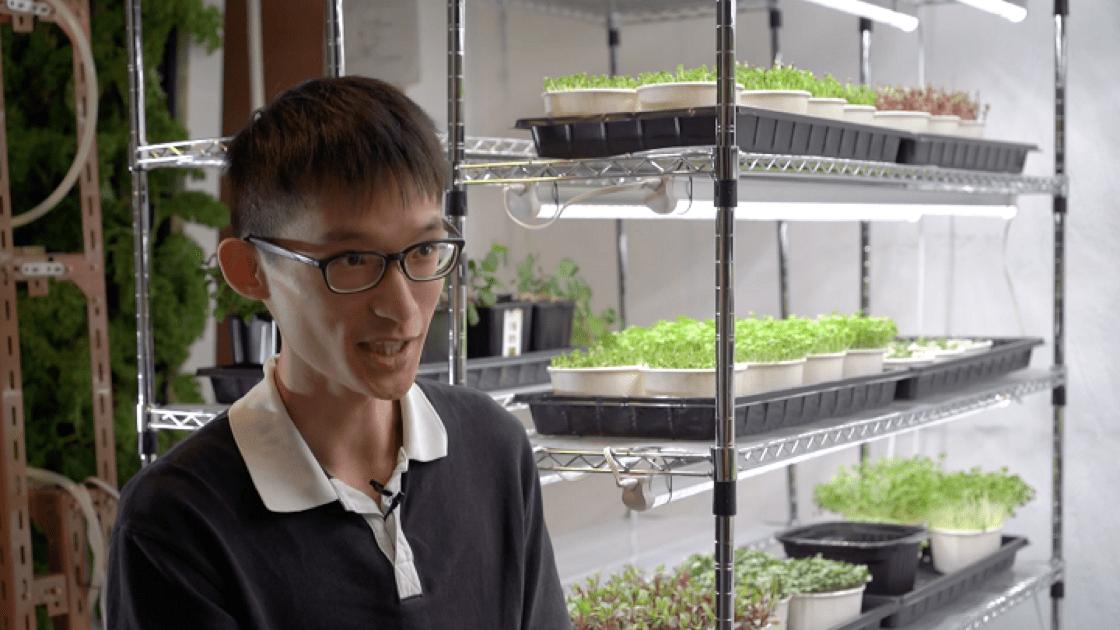 Urban Grow 的 90 後老闆 Edmund,致力推廣微菜苗飲食。(圖片:陳佳男)