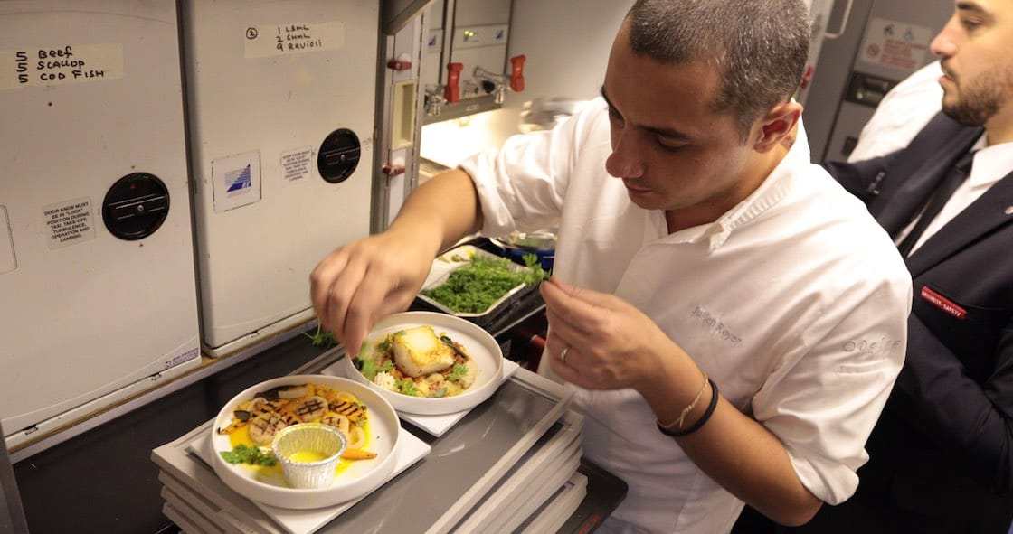 Julien Royer on board flight AF 257 for the Oh My Chef! event (Pic: Air France)